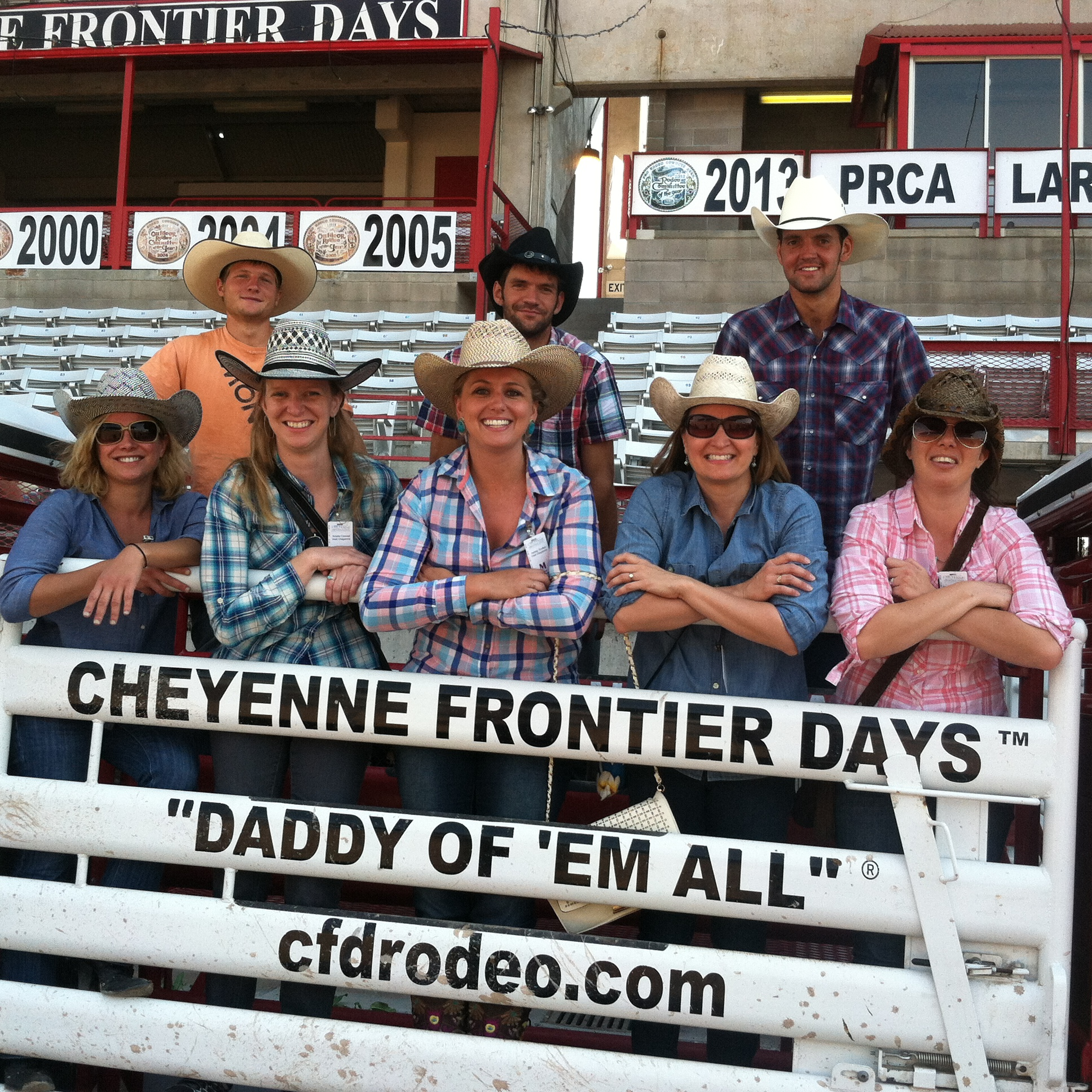 Me (far left) and the girls (and cowboys) behind the chutes.